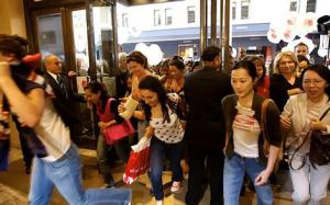Shoppers pour into David Jones for the opening of the post-Christmas sales.
